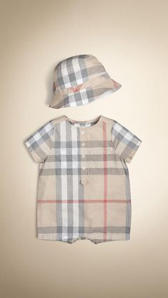 Pale classic check Check Playsuit with Hat - Image 1