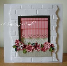 A Passion For Cards: Window box card This shows how to make a Roman shade. Window Box Flowers, Flower Boxes, Flower Cards, Window Boxes, Cute Cards, Diy Cards, Diy Bamboo, Tarjetas Diy, Window Cards
