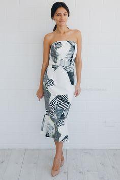 cooper st walk the edge strapless dress - print |