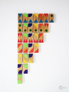 Ohoh blog: Make colorful wooden dominoes for kids - DIY toys - graphic dominoes