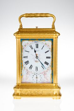 Giant French porcelain panel carriage clock.c.1880.France.