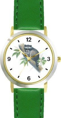 Raccoon in Tree JP Animal - WATCHBUDDY® DELUXE TWO-TONE THEME WATCH - Arabic Numbers - Green Leather Strap-Size-Children's Size-Small ( Boy's Size & Girl's Size ) WatchBuddy. $49.95. Save 38% Off!