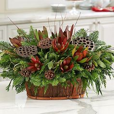 dried floral and greenery centerpiece Christmas Flower Arrangements, Christmas Centerpieces, Floral Arrangements, Christmas Decorations, All Things Christmas, Christmas Fun, Christmas Wreaths, Diy Flowers, Flower Decorations
