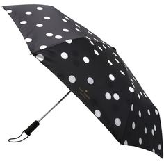 Kate Spade New York Dots Travel Umbrella ($48) ❤ liked on Polyvore featuring accessories, umbrellas, umbrella, other, deco dots, kate spade umbrella, travel umbrellas, kate spade, dot umbrella and polka dot umbrella