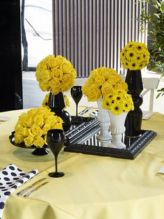 Amazing Yellow and Black Centerpiece Striking Look using yellow table linen, black and white polka dot napkins and yellow roses #event #styling #inspiration www.decorit.com.au