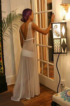 White Gossamer Lace Bridal Nightgown Bridal Lingerie Mesh Wedding Sleepwear Wedding Nightgown