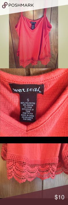 Wet Seal crop top Never worn top from Wet Seal. Super cute, orange/red with crochet design. Wet Seal Tops Crop Tops