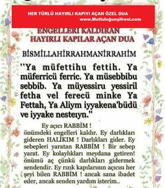 Engelleri kaldıran-Hayırlı kapıları açan Dua Bismillahirrahmanirrahim Ya müfettihu Fettih.Ya müferric.Ya Müsebbibu sebbib.Ya Osho, Diy And Crafts, Quotes, Islamic, Quotations, Quote, Manager Quotes, Qoutes, A Quotes