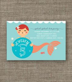 Mermaid Party Printable Invitation - 4th 5th 6th 7th 8th under the sea birthday invite for girl - customized pdf - peach, purple or green. $16.00, via Etsy.