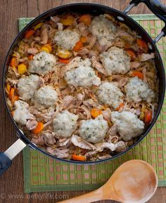 Chicken with Garlic and Herb  Dumplings. Easy Comfort Food. |Betsylife.com
