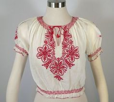 hugarian ebrodariey | Vintage 40s Sheer Hungarian Blouse Hand Embroidered Red Cream XS ...