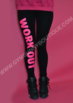 Flo Pink 'WORK OUT' Leggings ,Glam Gym™ | Gym Bunny Boutique