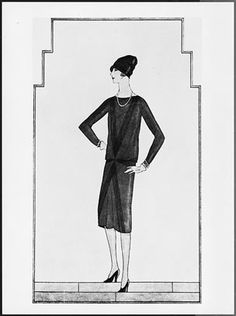 """Drawing of the Ford """"Little Black Dress"""" by CHANEL-1926"""