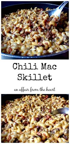 Chili Mac Skillet - re-done from my childhood! Dinner in less than 30 minutes. high in fiber - and kids love it, too! an affair from the heart
