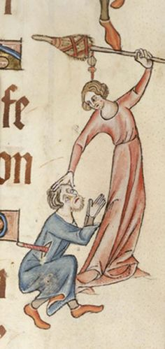 Luttrell Psalter. A woman beating a man with a distaff. Add. 42130 f.60, c.1325-1335