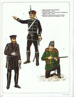 1:Chief of Staff (General Staff),field uniform,c.1871.2:Captain,1 Hussar (Leibhusaren) Regiment,parade order,c.1871.3:Rifleman (Gardeschutz),foot Guards,summer field service uniform,c.1871.