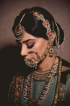 Bridal jewellery indian - Pakistani bridal jewelry - Indian wedding jewelry - Indian bridal - B - Jewelry Pakistani Bridal Jewelry, Indian Bridal Fashion, Indian Wedding Jewelry, Indian Wedding Outfits, Indian Jewelry, Mughal Jewelry, Nath Bridal, Bengali Jewellery, Bridal Nose Ring