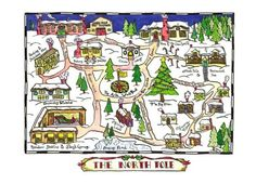 North Pole Map 8 x 10 Christmas Print by paintandink on Etsy, $20.00