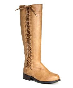 Another great find on #zulily! Tan Corset Pilot Riding Boot #zulilyfinds