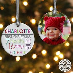 This ornament is adorable! It's a personalized baby's first Christmas ornament! You can personalize it so it shows exactly how old the baby is for their first Christmas!