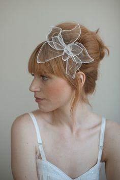 Handmade silk tulle flower headband at Twigs & Honey It's simple and delicate. Love.