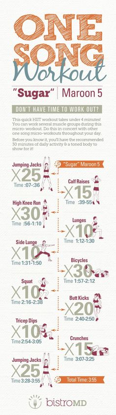 Workout a variety of muscle groups in under 4 minutes with this fun HIIT (high intensity interval training) workout to Maroon 5's hit song, Sugar!