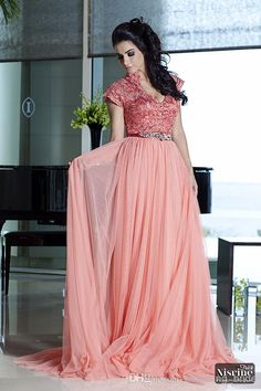 Wholesale Prom Dresses Gowns - Buy Modest Coral Mother Of The Bride Dresses Lace Deep V Neck Chiffon Beaded Prom Evening Gowns With Short Sleeves Floor Length Ruched Plunging, $121.07 | DHgate