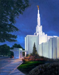 In 1982 The Church of Jesus Christ of Latter-Day Saints announced that they would be building a temple in Denver, Colorado.  The groundbreaking was held two years later in 1974 and the building was completed and dedicated in 1986. Dix Baines completed his painting of the Denver Temple in December 2013. Limited edition prints were released at the same time.