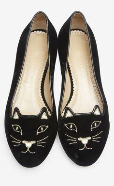 Charlotte Olympia Black Kitty Flat | VAUNTE