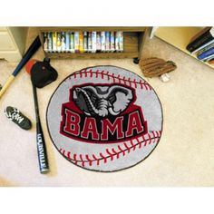 """Alabama Crimson Tide NCAA Baseball"""" Round Floor Mat (29""""). Each Fan Mats product is produced in a 250;000 sq. ft. state-of-the art manufacturing facility. Only the highest quality; high luster yarn with 16 oz. face weight is used. These mats are chromo jet printed; allowing for unique; full penetration of the color on the machine washable non-skid Duragon latex backing with a sewn edge  - making for a beautiful and lasting piece for even the most aggressive fan.  Anything else would be…"""