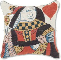 Playing Card Needlepoint Pillows. Queen of Hearts Petit Point Pillow - Designer Cushions at NeedlepointPillows.com