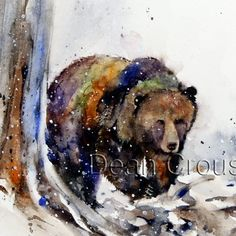 TIMBERLINE GRIZZLY limited edition watercolor print from an original painting by Dean Crouser (original has been sold). Bear Watercolor, Watercolor Animals, Watercolor Paintings, Watercolor Paper, Watercolors, Fox Painting, Texture Painting, Fox In Snow, Bear Paintings