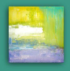 "WATERLILY. Original Contemporary Fine Art Abstract Textured Painting Modern Acrylic Art  24x24x1.5"" by Ora Birenbaum. $185.00, via Etsy."