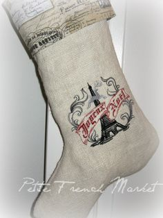 Joyeux Noel French Burlap Christmas stocking