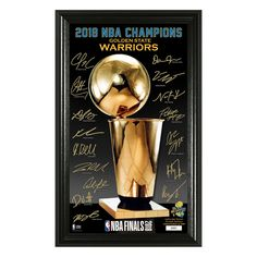 The NBA GSW 2018 NBA Finals Champs Signature Trophy Mint is the perfect addition to any fan's sports memorabilia collection. Includes a glossy photo of the coveted Larry O'Brien Trophy along with the replica signatures of the team. Golden State Warriors 2018, 2018 Nba Champions, Warrior Spirit, Draymond Green, Finals, Mint, Products, Final Exams, Gadget