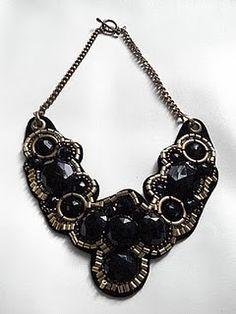 collar necklace: felt, beads, thread, jump rings, chain