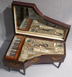 Antique Palais Royal musical Grand Piano sewing box. - Gavin Douglas Antiques (BB)
