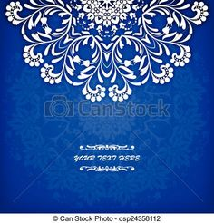 Vector - Abstract vector circle floral ornamental border. Lace pattern design. White ornament on blue background. Can be used for banner, web design, wedding cards and others - stock illustration, royalty free illustrations, stock clip art icon, stock clipart icons, logo, line art, EPS picture, pictures, graphic, graphics, drawing, drawings, vector image, artwork, EPS vector art
