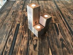 A personal favorite from my Etsy shop https://www.etsy.com/listing/531067860/reclaimed-wood-3-piece-candle-holder