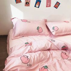 Kawaii Peach Bedding Set Notice: The bedding set has a duvet cover with no filling,a bed sheet and pillowcase ●Size:tips the size of the quilt to choose the bedding set. Navy Blue Bedding, Peach Bedding, Neutral Bedding, Decoration Bedroom, Cute Room Decor, Queen Size Bedding, Bedding Sets, Dorm Bedding, Bedding Decor