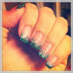Green/silver glitter french manicure acrylic nails