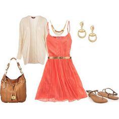 outfit coral & dorado