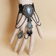 Classic Beaded Pendant Lolita Lace Bracelet With Ring For Women