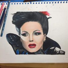 www.facebook.com/groups/livinginstorybrooke #beautiful #talent #fanart #art #drawing #FanArtFriday #lanaparrilla #evilqueen #reginamills #ouat #onceuponatime #wow