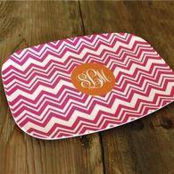 Hot Pink Chevron Zig-Zag Melamine platter.  This Melamine platter displays the Orange Solid circle emblem with three letters in Script font.