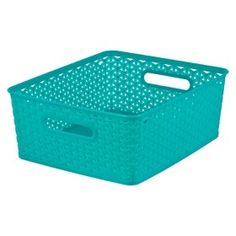 Coloured plastic woven bins for toy storage