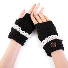 1 Pair Women Lady Girl Mittens Gloves Fingerless Short Knitting Fashion For Winter Price history. Lace Knitting, Knitting Patterns, Winter Shorts, Color Khaki, Color Black, Fingerless Gloves Knitted, Lace Button, Knit Fashion, Hand Warmers
