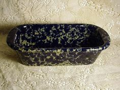 Bennington Potters Vermont Blue Spatterware Loaf, Bread, or  Baking Pan 5.5 x 12