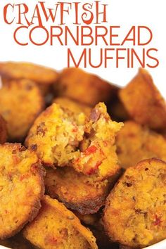 With these crawfish cornbread muffins have a little taste of Louisiana in your own home. Loaded with crawfish and sausage this cornbread is not like any other. Creole Recipes, Cajun Recipes, Shrimp Recipes, Appetizer Recipes, Cooking Recipes, Shrimp Meals, Seafood Appetizers, Yummy Recipes, Recipies