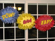 Superhero tissue paper pompom to decorate class